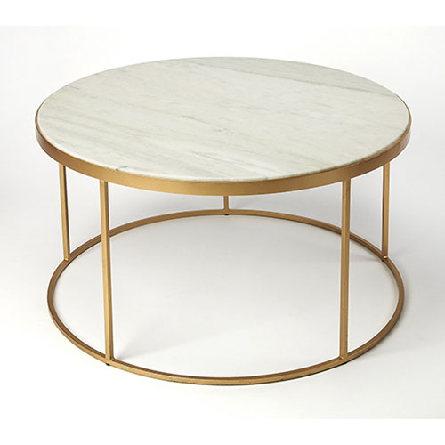251 First Monroe Marble And Gold Coffee Table 9392389 Bellacor