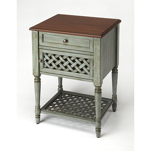 Quinn Rustic Blue End Table