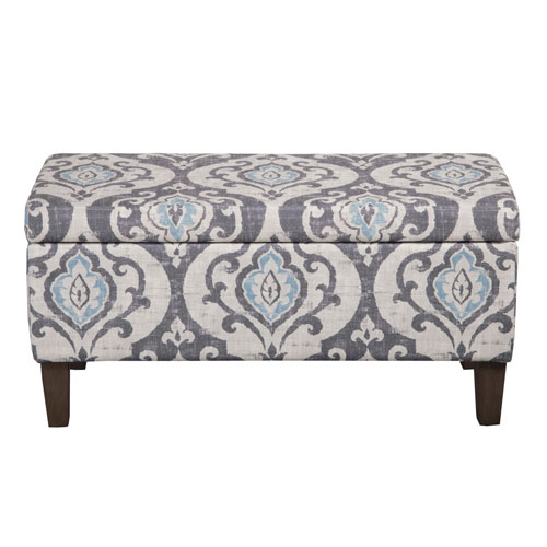 251 First Quinn Grey and Light Blue Storage Ottoman
