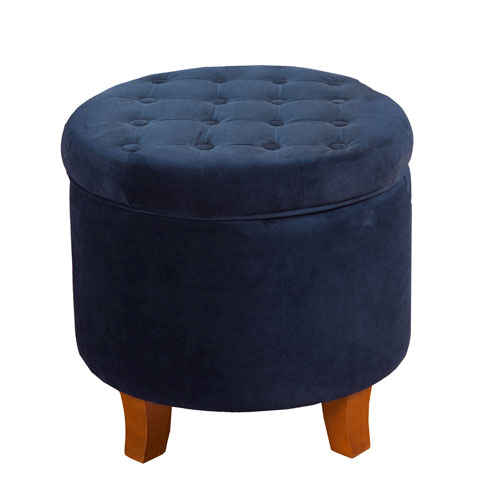 251 First Whittier Navy Round Storage Ottoman
