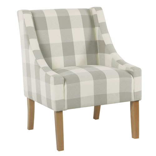 Quinn Grey Plaid Accent Chair