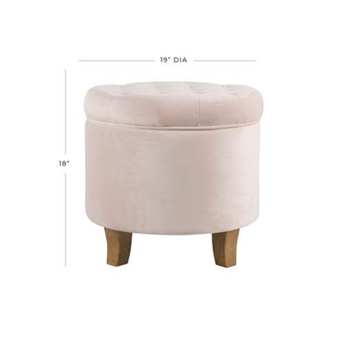 Monroe Pink Round Storage Ottoman