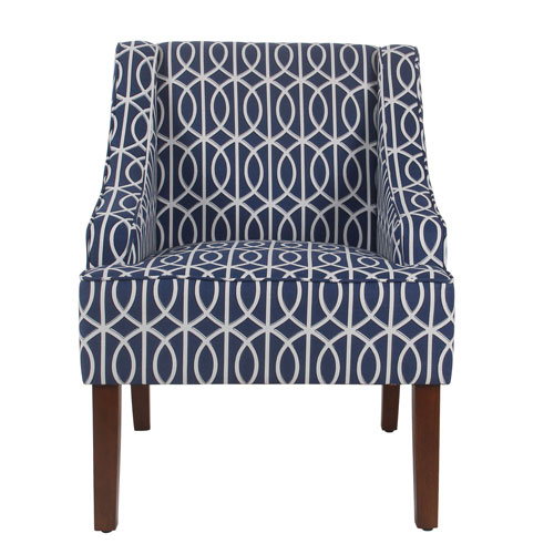 251 First Loring Blue and Walnut Accent Chair
