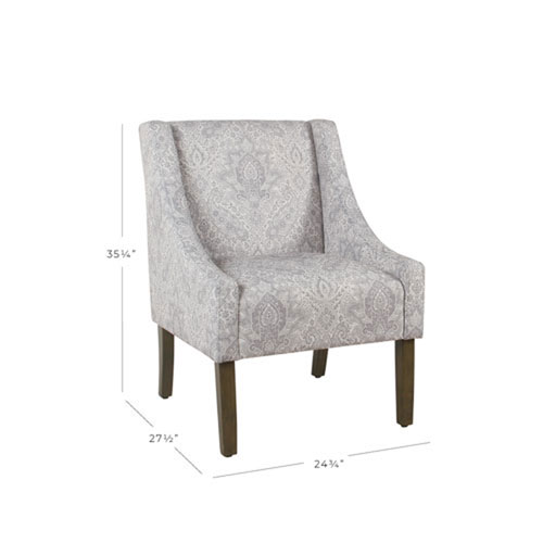 Cooper Grey Damask Arm Chair