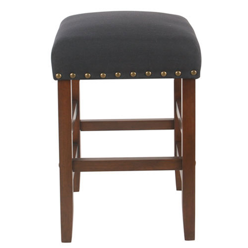 Whittier Dark Navy Blue Backless Counter Stool with Nail Heads