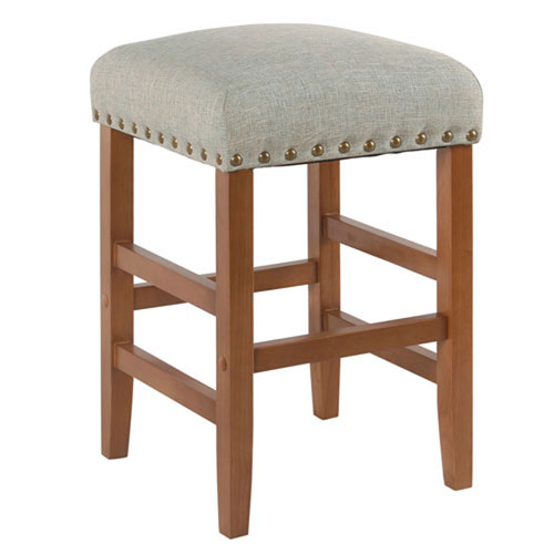 251 First Whittier Teal Backless Counter Stool with Nail Heads