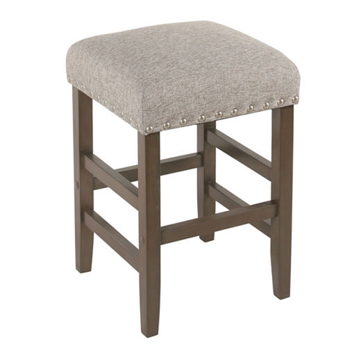 Whittier Grey Backless Counter Stool with Nail Heads