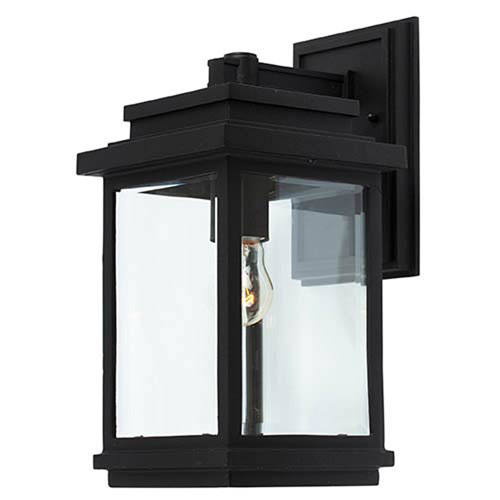Kenwood Black One-Light 7-Inch Wide Outdoor Wall Sconce with Clear Four Side Glass