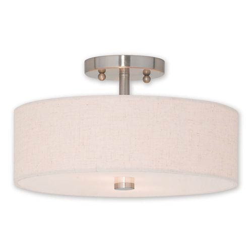 Kate Brushed Nickel Two-Light 13-Inch Ceiling Mount