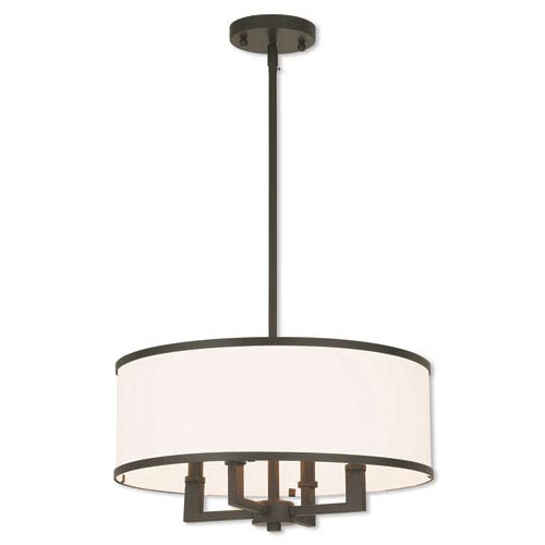 Elle Bronze 18-Inch Four-Light Chandelier with Hand Crafted Off-White Fabric Hardback