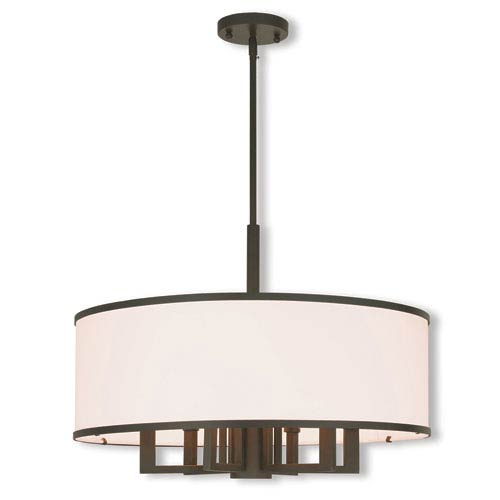 Elle Bronze 24-Inch Seven-Light Chandelier with Hand Crafted Off-White Fabric Hardback