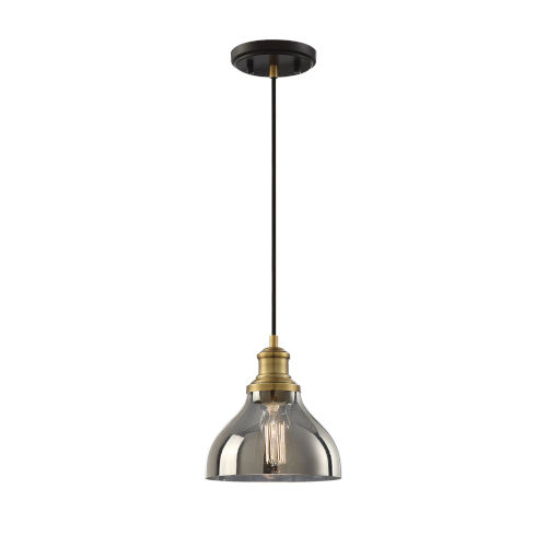 251 First Hayes Oil Rubbed Bronze and Natural Brass One-Light Mini Pendant