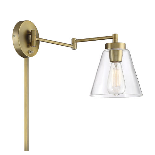 Cora Natural Brass One-Light Adjustable Wall Sconce
