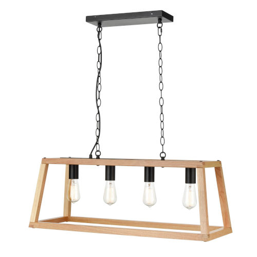 Uptown Natural Wood 12-Inch Four-Light Chandelier