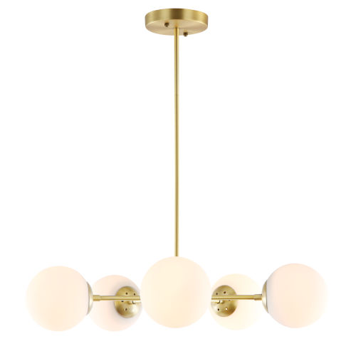 Nicollet Antique Brass and White 28-Inch Five-Light Chandelier