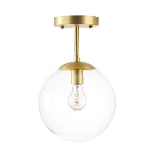 Nicollet Transparent and Antique Brass 10-Inch One-Light Semi Flush Mount