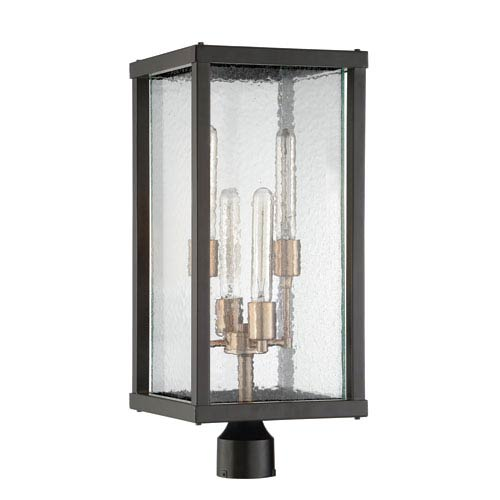 Essex Midnight and Aged Brass Four-Light Post Mount