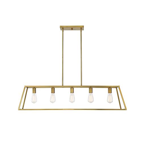 Anita Warm Brass Five-Light Linear Chandelier