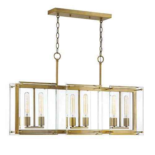 Bryant Warm Brass Six-Light Linear Chandelier