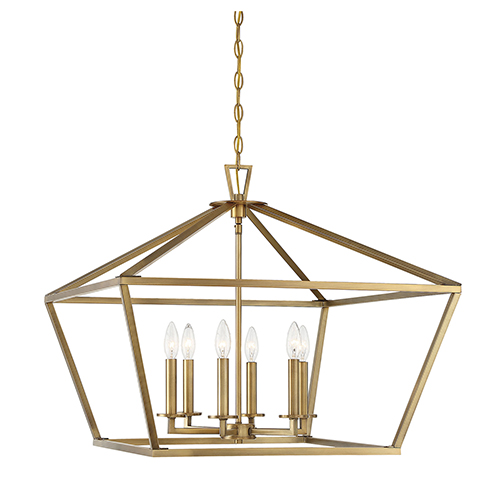 Kenwood Warm Brass Six-Light Lantern Pendant