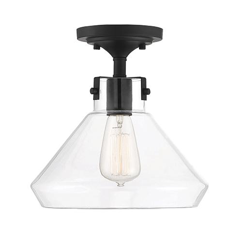 Isles Matte Black One-Light Semi-Flush