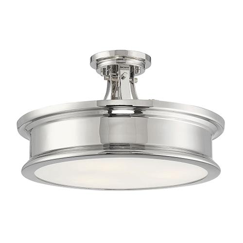 Anita Polished Nickel Three-Light Semi-Flush