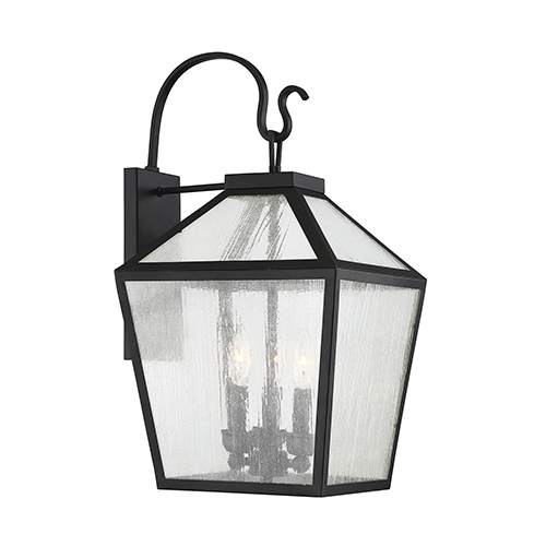 Anna Black 12-Inch Three-Light Outdoor Wall Sconce