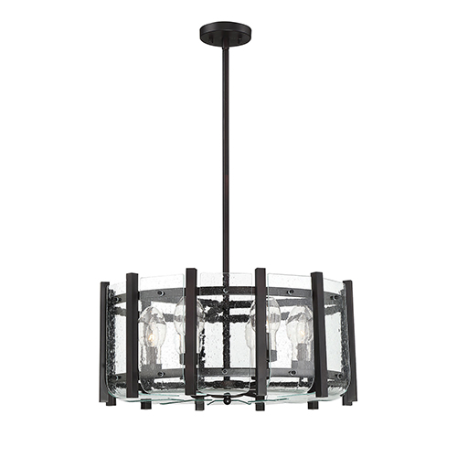 Fulton English Bronze Six-Light Outdoor Chandelier