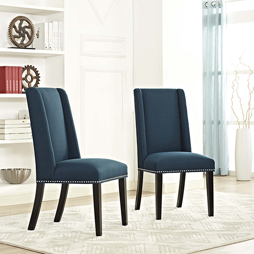 Selby Blue Yuhua Fabric and Wood Dining Chair, Set of Two