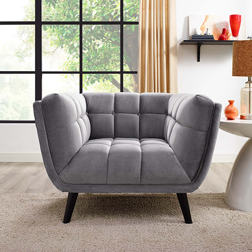 Cooper Gray Rubber Wood and Yuhua Fabric Arm Chair