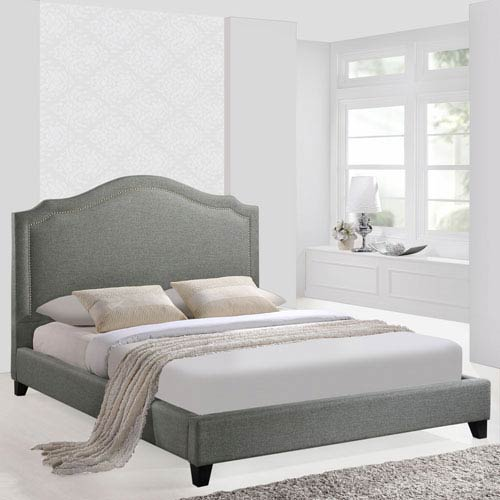 Selby Gray Pine Wood and Linen Fabric Queen Bed