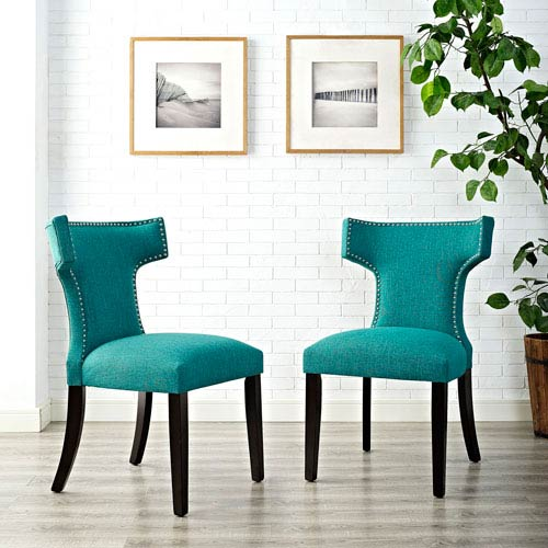 Cooper Teal Fabric and Wood Dining Chair, Set of Two