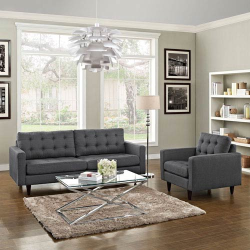 Uptown Gray Nylon and Polyester Two Piece Sofa Set