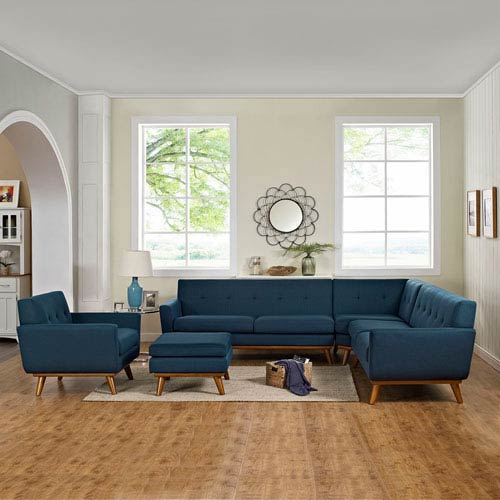 Nicollet Blue Cherry Stained Rubber Wood Five Piece Sectional Sofa