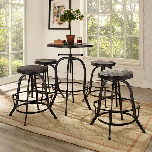 River Station Black Pine with Metal Five Piece Dining Set