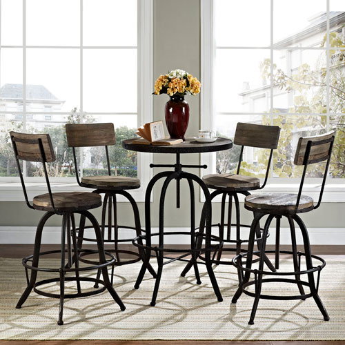 River Station Brown Pine with Metal Edge and Metal Base Five Piece Dining Set