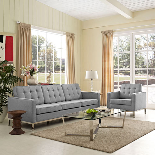 Uptown Light Gray Fine Polyester Upholstery Two Piece Living Room Set
