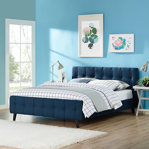 Nicollet Azure Polyester and Wood Queen Bed