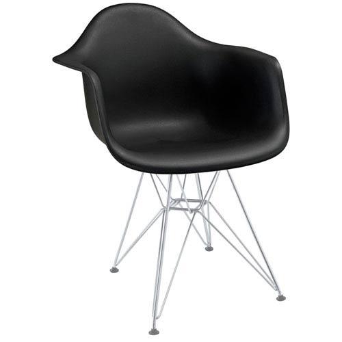 Nicollet Black Chromed Steel Base Dining Chair