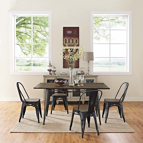 Afton Black Powder Coated Steel Dining Chair, Set of Four