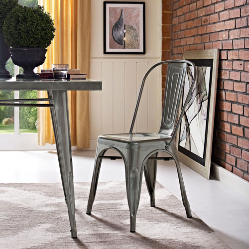 Afton Gun Metal Powder Coated Steel Dining Chair