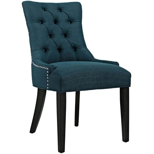 Vivian Blue Fabric and Wood Dining Chair