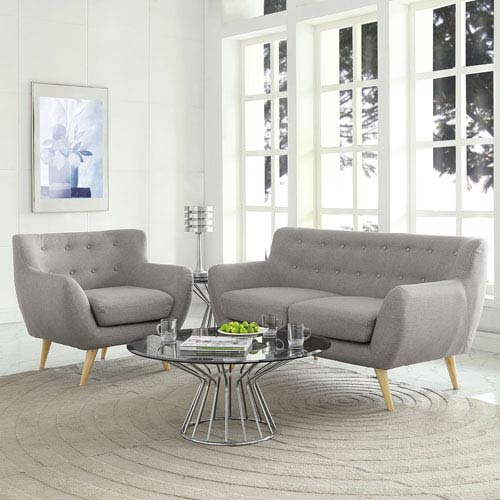 Nicollet Light Gray Rubber Wood Two Piece Living Room Set