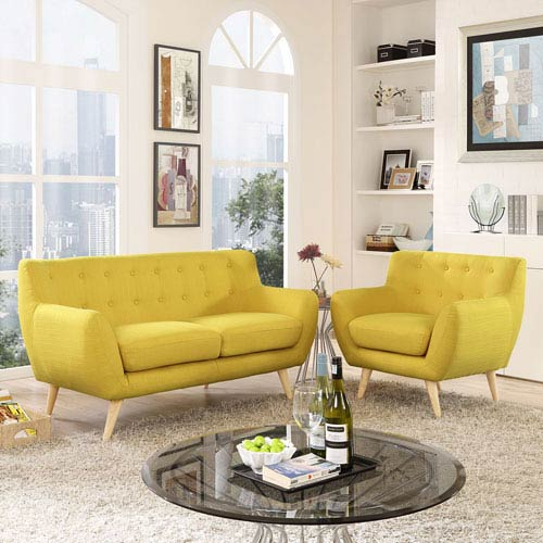 Nicollet Sunny Rubber Wood Two Piece Living Room Set