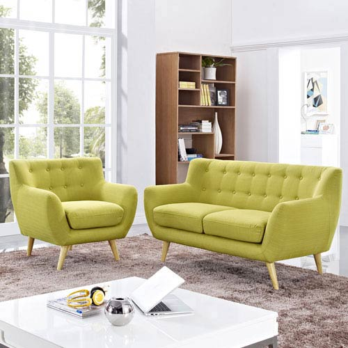 Nicollet Wheat Rubber Wood Two Piece Living Room Set