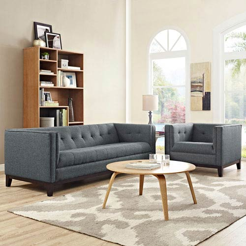 Uptown Gray Rubberwood Two Piece Living Room Set