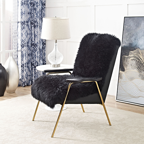 Vivian Black Wool and Oak Arm Chair