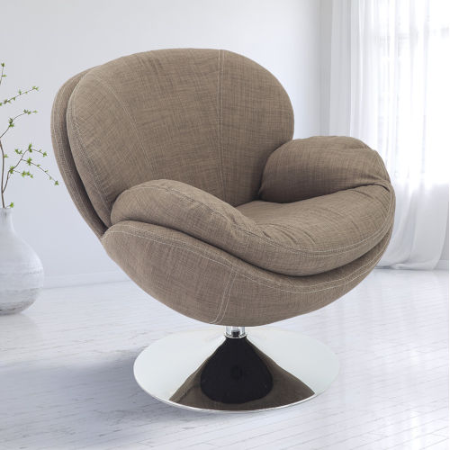 Nicollet Chrome Tan Khaki Fabric Armed Leisure Chair