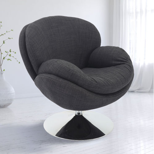 Nicollet Chrome Gray Anthracite Fabric Armed Leisure Chair