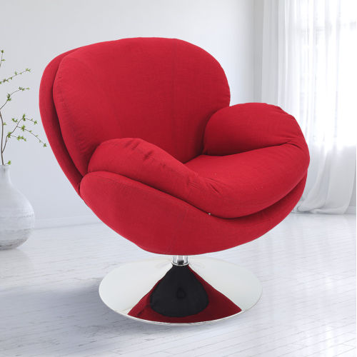 Nicollet Chrome Red Fabric Armed Leisure Chair